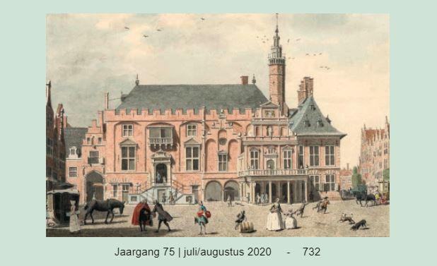 De Grote Markt te Haarlem met het stadhuis, gezien tussen ca. 1765-1772. Rechts boven de pilaren is nog het in 1855 afgebroken omheinde schavot gelegen. Onbekende kunstenaar, pen- en penseeltekening 22.5 x 25.1 cm, te dateren ca. 1770. (Collectie Noord-Hollands Archief, Haarlem)
